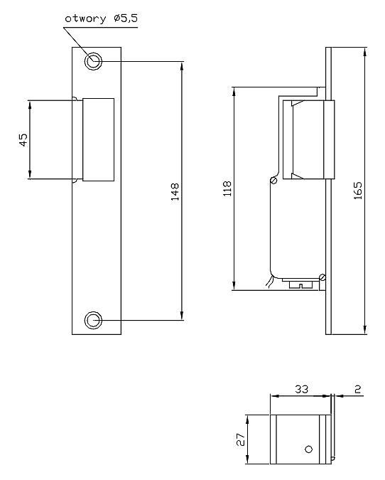 Wymiary eletrozaczepu R 2.