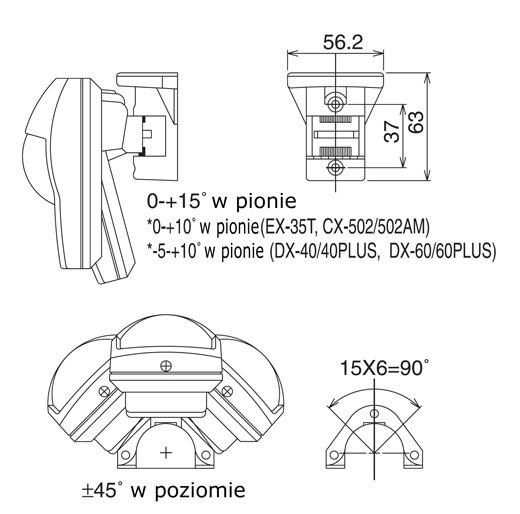 Wymiarowanie uchwyty FA-3 firmy Optex