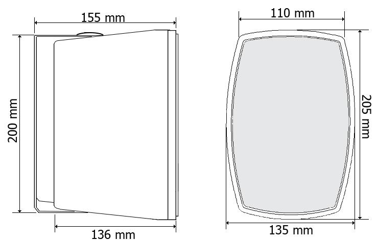 Wymiary kolumny głośnikowej dwudrożnej HQM-410T.