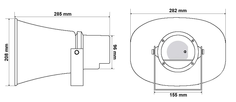 Wymiary głośnika HQM-730.