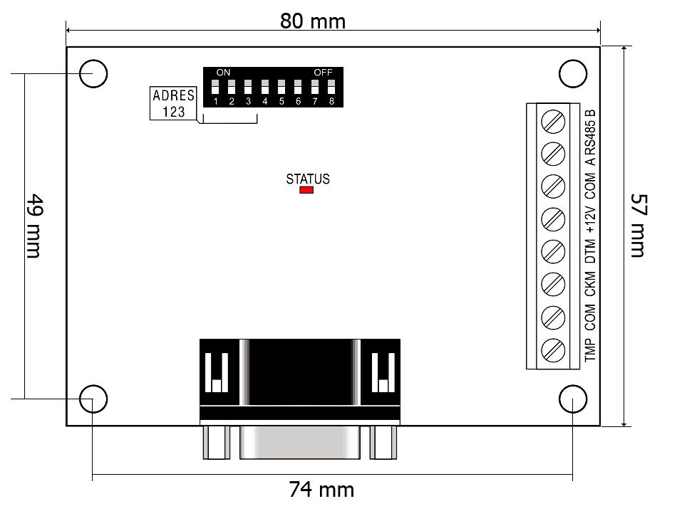Wymiary modułu INT-RS Plus.