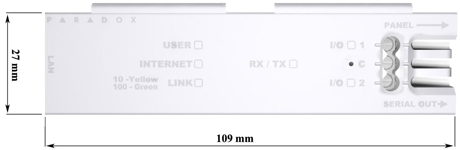 Wymiar modułu internetowy IP-150 / IP-150S.