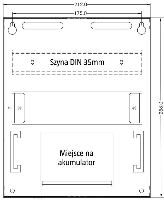 Wymiary obudowy PR411DR-SET w milimetrach.