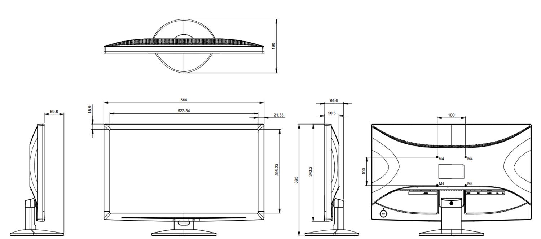 Wymiar monitora LED L-W24.
