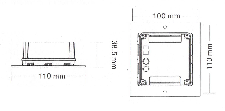 Wymiary czytnika kart RFID ZS 600A.