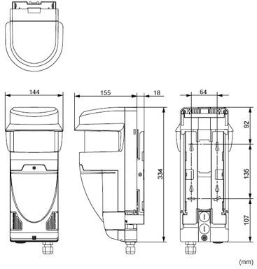 Wymiary czujnika laserowego RLS-3060HS