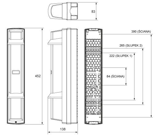 Bariera podczerwieni SL-350QFR - wymiary