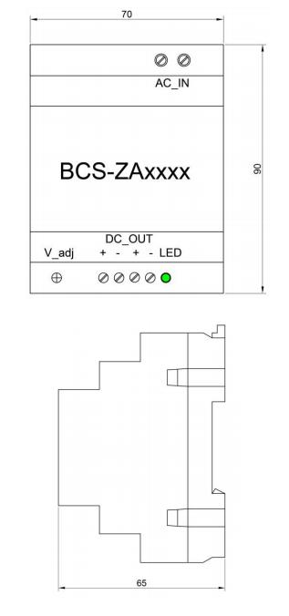 Wymiary zasilacza BCS ZA2425.