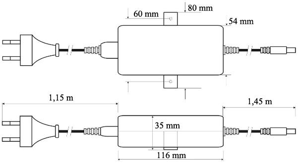Wymiary zasilacza PSD480125.