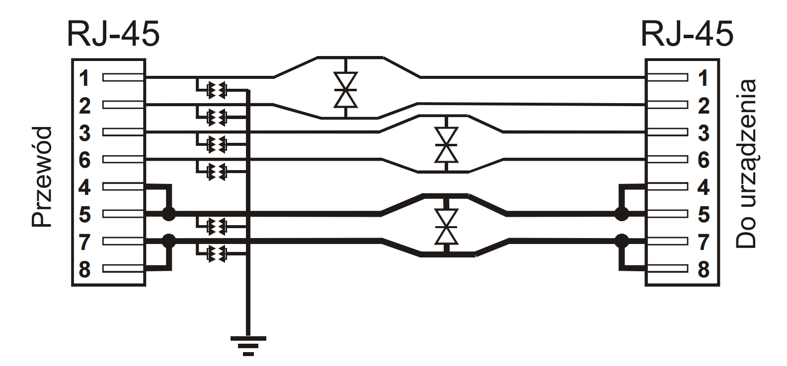 PTF-1-ECO/PoE/DIN- Uproszczony schemat blokowy.