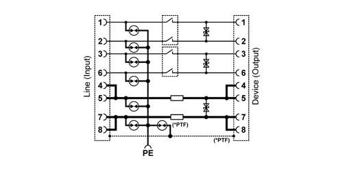 PTF-1-EXT/PoE - Uproszczony schemat blokowy.