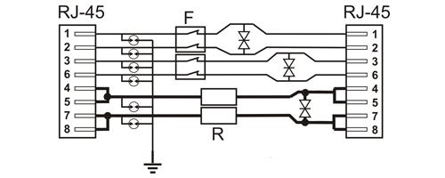 PTF-16R-EXT/PoE - Uproszczony schemat blokowy.
