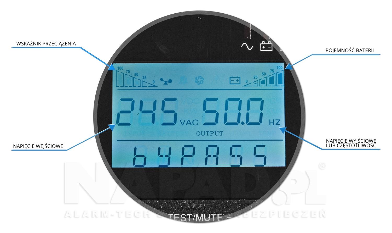 Zasilacz AT-UPS3000 LCD opis wyświetlacz