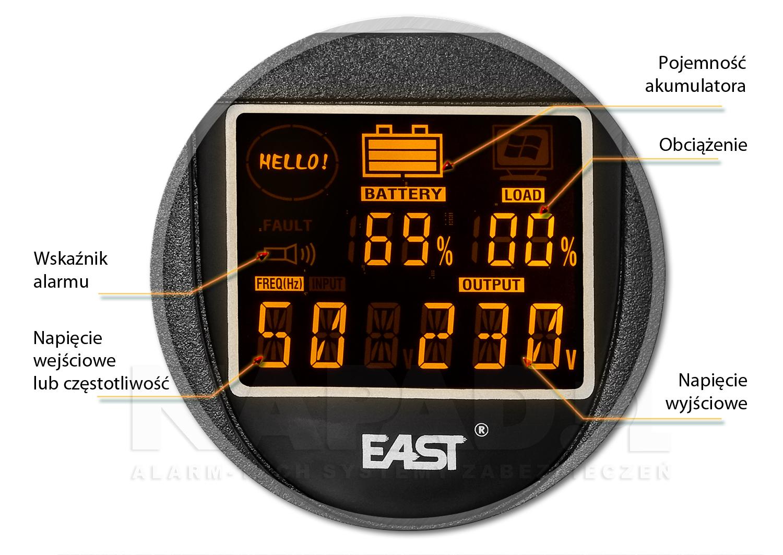 Informacje na ekranie LCD w UPS650R LI
