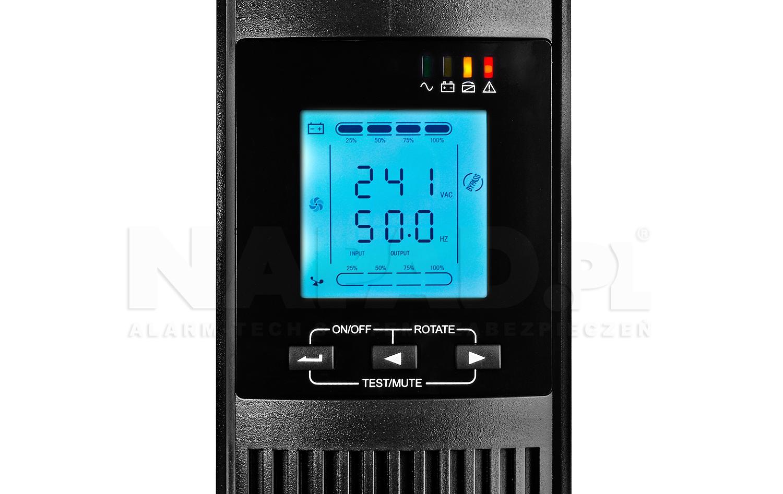 Zasilacz AT-UPS1000-RT RACK zbliżenie na wyświetlacz LCD
