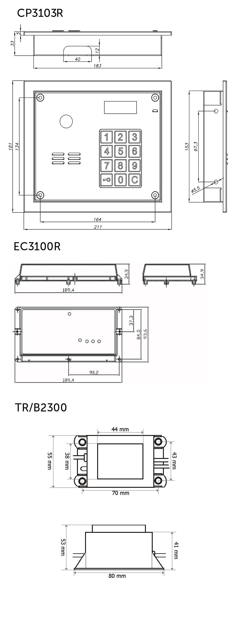CD3103R - wymiary panelu domofonowego, centralki i zasilacza.