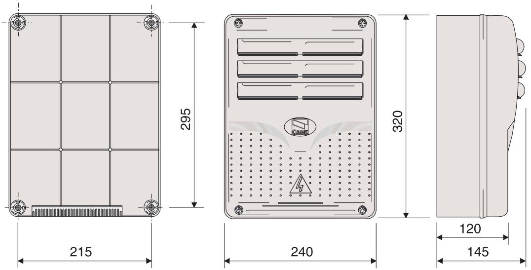 Wymiary zewnętrzne centrali sterującej ZL92.