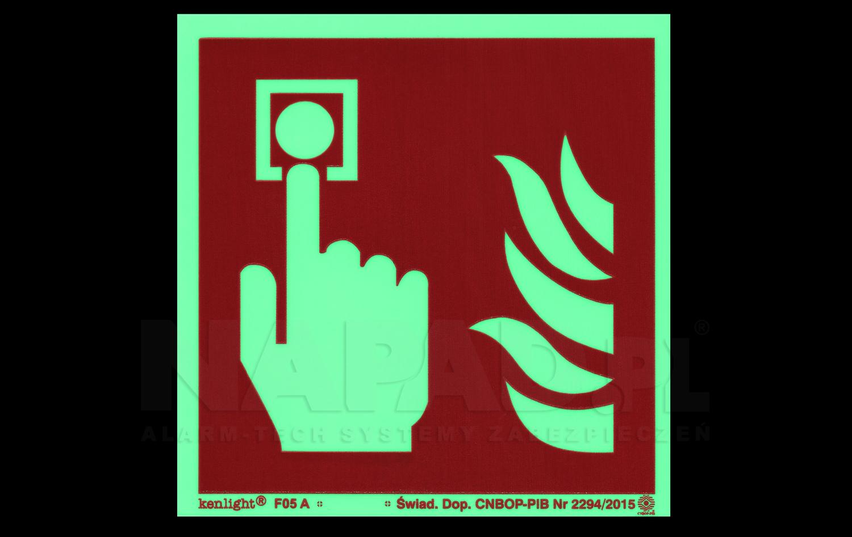"""Znak fotoluminescencyjny """"Alarm pożarowy"""""""