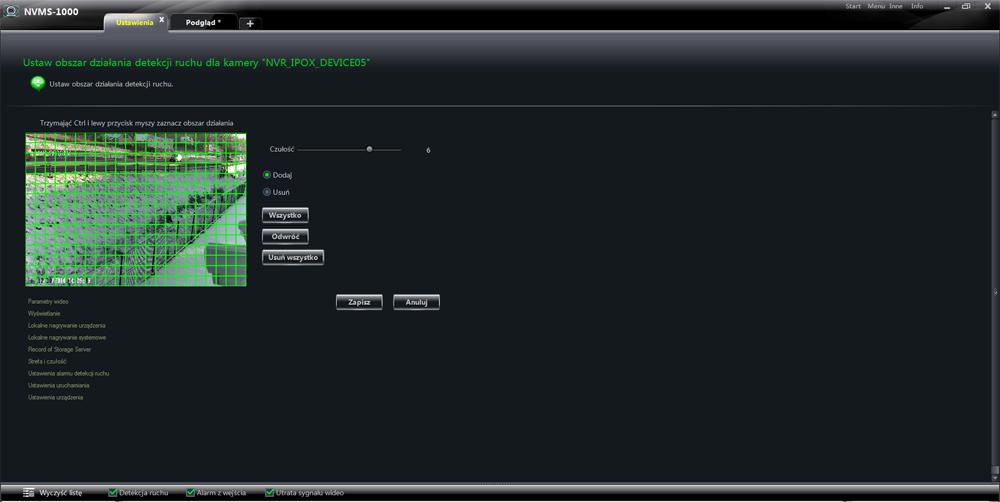 Ustawianie obszaru działania detekcji ruchu w oprogramowaniu NVMS1000.