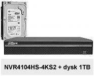 Rejestrator sieciowy DHI-NVR4104HS-4KS2 + dysk HDD 1TB.