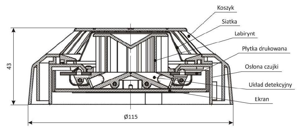 Konstrukcja czujki DOR-4043