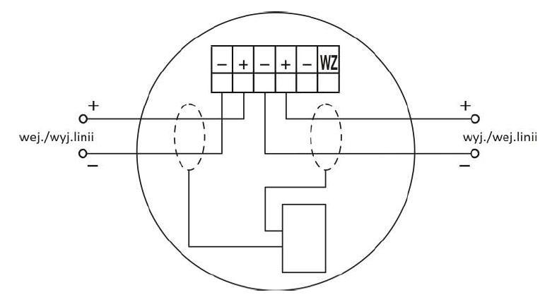 Zacisk gniazda współpracującego z wtykiem czujki DOR-4043