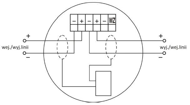 Zaciski gniazda współpracującego z wtykiem czujki DUR-4046