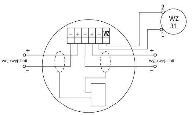Zaciski gniazda współpracującego z wtykiem czujki DUR-40Ex