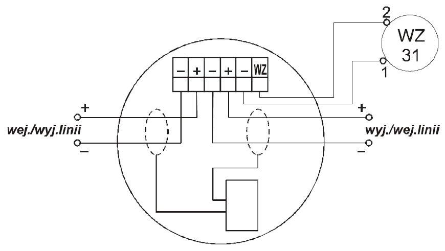 Zacisk gniazda współpracującego z wtykiem czujki DUR-40