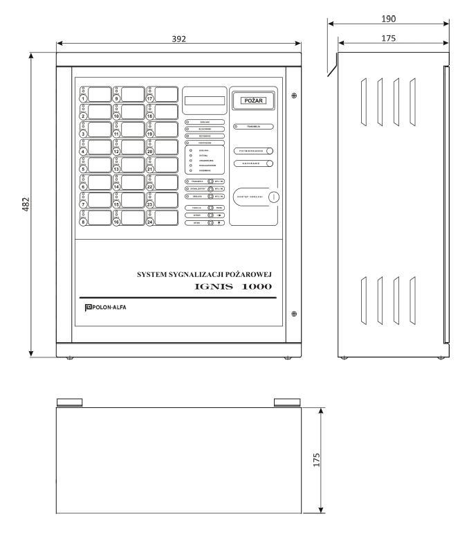 Wymiary konstrukcyjne centrali ignis 1240