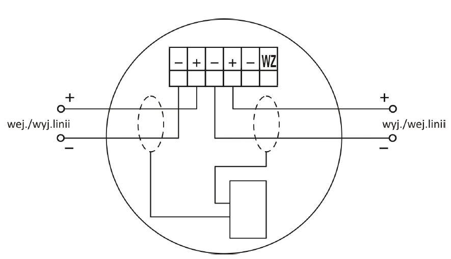 Zacisk gniazda współpracującego z wtykiem czujki TUN-4043