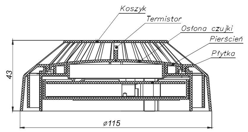 Wymiary, konsrukcja czujki ciepła TUP-40