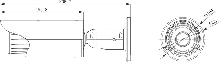 wymiary kamera BCS TIP5300IR