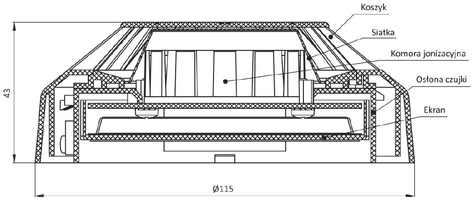 Wymiary, konstrukcja czujki DIO-40