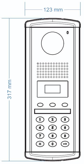 Wymiary stacji bramowej DRC-GAC-RFID COMMAX
