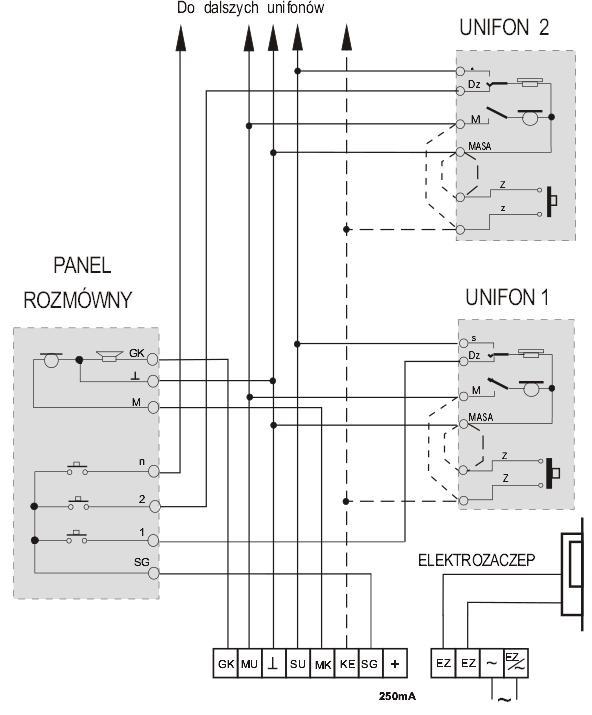 schemat podłączenia domofonu z zasilaczem EWD3L