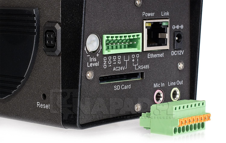 Wejścia oraz wyjścia kamery IP POE-5010HD