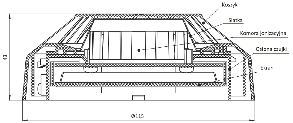 Wymiary, konstrukcja czujki DIO-4043