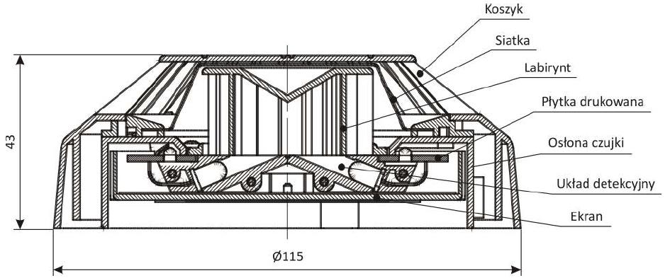 Wymiary, konstrukcja czujki DOR-4046