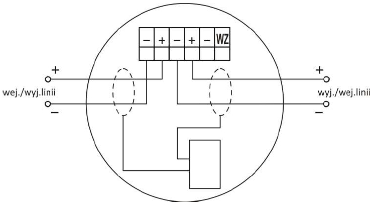 Zacisk gniazda współpracującego z wtykiem czujki DOR-4046