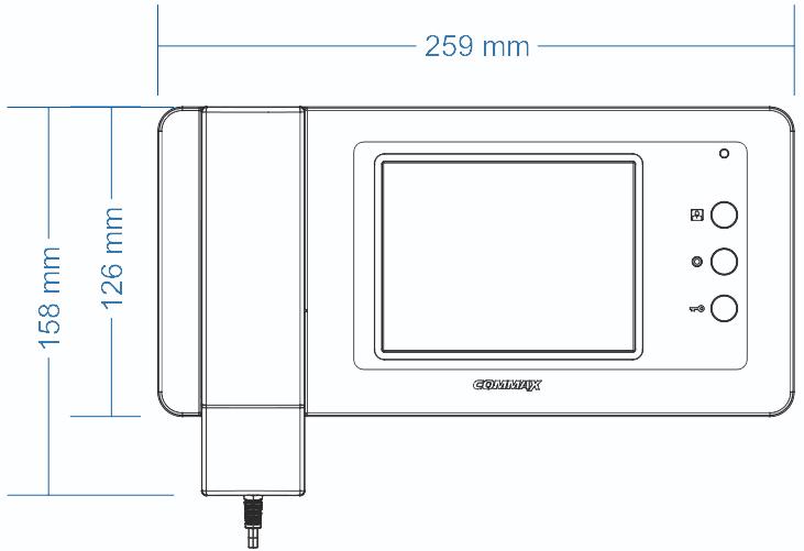 Wymiary monitora CAV-50GN COMMAX