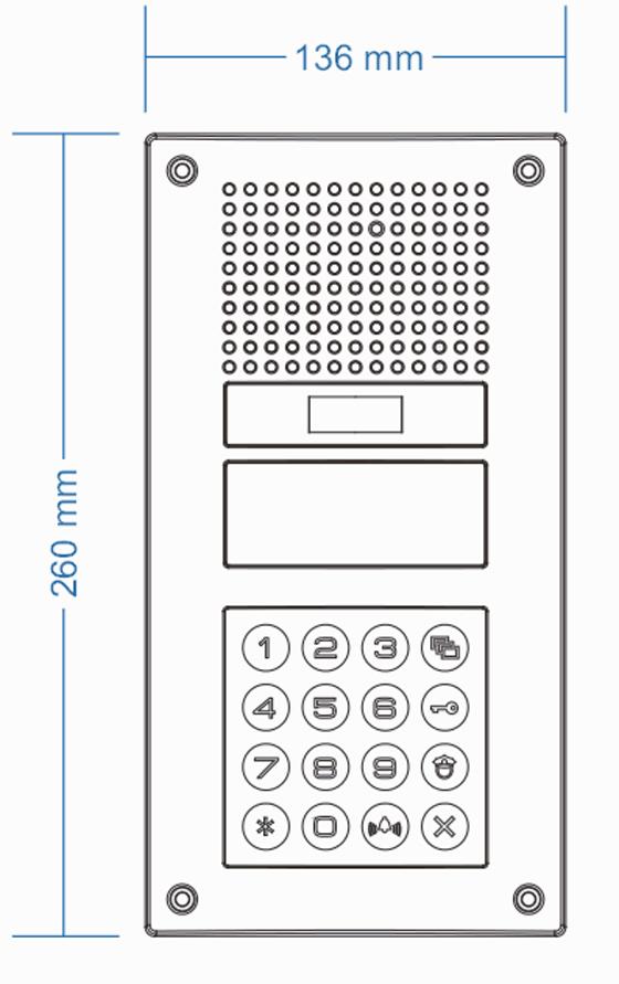 Wymiary stacji bramowej DRC-900LC COMMAX
